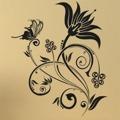 Samolepka na zeď Květiny s motýly 019 (146302) - 1