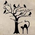 Samolepka na zeď Kočka a strom 0500 (576289) - 1