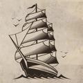 Samolepka na zeď Loď 001 (146352) - 1