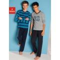 Pyžamo (2 ks) DEFAULT_INVALID tyrkysová s proužky+šedý melír s potiskem (731395) - 1