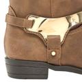 Kožené kotníkové boty Timeless se zlatou přezkou hnědé (4313) - 2