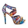 Modré sandálky na podpatku Timeless Oden (4115) - 3