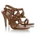 Hnědé sandálky na podpatku Obelia se zlatými cvočky (4113) - 3
