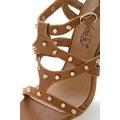 Hnědé sandálky na podpatku Obelia se zlatými cvočky (4113) - 2