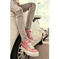Růžové krajkové tenisky s vysokou podrážkou MTNG (4268) - 2