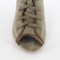 Zelené zavazovací boty na klínku s otevřenou špičkou (4129) - 5