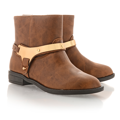 Kožené kotníkové boty Timeless se zlatou přezkou hnědé (4313) - 3