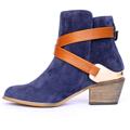 Kotníkové boty se zlatou sponou Timeless modré (4312) - 5