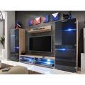 MODERN, obývací stěna, dub san remo/grafit lesk (372030) - 1