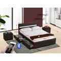 Smartshop FABALA čalouněná postel s roštem, bluetooth a LED  160x200 cm, černá (535739) - 2