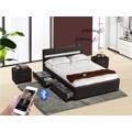 Smartshop FABALA čalouněná postel s roštem, bluetooth a LED  160x200 cm, černá (535739) - 1
