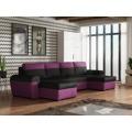 Smartshop Rohová sedačka FILO U, černá látka/fialová látka (569444) - 1