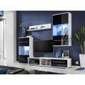 Smartshop LIPPI, obývací stěna, bílá/černý lesk (368542) - 1