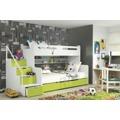 Dětská patrová postel zelené barvy F1022 (398332) - 1