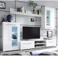 Lesklá obývací stěna v bílé barvě v kombinaci se sklem TK308 (489039) - 3