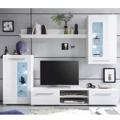 Lesklá obývací stěna v bílé barvě v kombinaci se sklem TK308 (489039) - 1