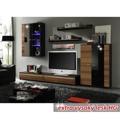 Obývací stěna s LED osvětlením dekor švestka černá extra vysoký lesk HG TK3216 (598428) - 1
