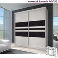 Dvoudveřová skříň, 233x218, s posuvnými dveřmi, bílá a černé sklo, MULTI 11 (349581) - 1