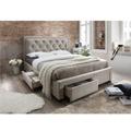 Manželská postel s roštem 160x200 cm látka šedohnědá TK3004 (531158) - 1