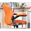 Prošívané pohodlné kancelářské křeslo v oranžové ekokůži s područkami TK231 (449090) - 8