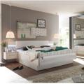 Manželská postel 180x200 cm se 2 nočními stolky , dub bílý a bílá, s osvětlením TK080 (363307) - 1