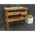 Zahradní pracovní stolek dřevěný se zásuvkami (418540) - 2