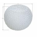 Pletený bavlněný taburet smetanové barvy TYP 2 TK264 (529887) - 3