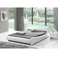 Manželská postel 160x200 cm s roštem a LED osvětlením bílá ekokůže TK3021 (531415) - 1