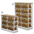 Komoda, 6 košíků, bílá / medová, GINGER 1 (359542) - 5