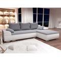Rohová sedací souprava, rozkládací s úložným prostorem, šedá látka, ekokůže, s dekorativními polštáři, pravé provedení CARLOS (363986) - 1
