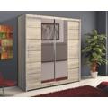 Šatní skříň 203 cm s posuvnými dveřmi a zrcadlem dub sonoma KN159 (351203) - 1