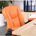 Prošívané pohodlné kancelářské křeslo v oranžové ekokůži s područkami TK231 (449090) - 3