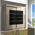 Šatní skříň s černým zrcadlem v dekoru dub sonoma KN531 (367088) - 1