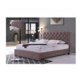 Manželská postel 180x200 cm s roštem hnědá látka TK3012 (531401) - 2
