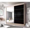 Skříň s posuvnými dveřmi, dub sonoma / černý lesk, 203x218, MULTI 31 (797925) - 1