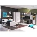 Šatní skříň rohová v barevném provedení grafit a šedé barvy typ BR03 KN090 (367640) - 2