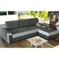Rohová sedací souprava v pravém provedení šedé barvy s melírem a bílé ekokůže TK142 (363230) - 1