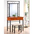 Toaletní stolek se zrcadlem v dekoru antická třešeň a taburetem KN791 (567398) - 1