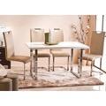 Jídelní stůl v bílé barvě s vysokým leskem a spojenou chromovou podstavou TK236 (463241) - 2