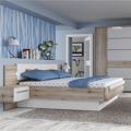 Manželská postel a 2 noční stolky v kombinaci dub bergamo a bílý lesk TK2189 (531219) - 1