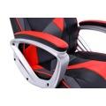 Kancelářská židle s houpacím mechanismem černá červená a šedá ekokůže F157 (360676) - 6