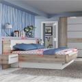 Manželská postel a 2 noční stolky v kombinaci dub bergamo a bílý lesk TK2189 (531219) - 3