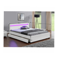 Manželská postel 180x200 cm s úložným prostorem, roštem a LED osvětlením bílá ekokůže TK3016 (531406) - 2