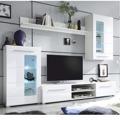 Lesklá obývací stěna v bílé barvě v kombinaci se sklem TK308 (489039) - 2