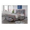 Manželská postel 180x200 cm s úložným prostorem a roštem šedá látka TK3022 (531454) - 2