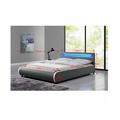 Manželská postel 160x200 cm s lamelovým roštem a LED osvětlením šedá ekokůže TK3010 (531395) - 2