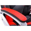 Kancelářská židle s houpacím mechanismem černá červená a šedá ekokůže F157 (360676) - 2