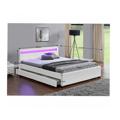 Manželská postel 160x200 cm s úložným prostorem, roštem a LED osvětlením bílá ekokůže TK3016 (531514) - 2