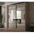 Šatní skříň 203 cm s posuvnými dveřmi se zrcadlem v dekoru dub country grey KN863 (362761) - 1