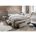 Manželská postel s roštem 160x200 cm látka šedohnědá TK3004 (531158) - 2